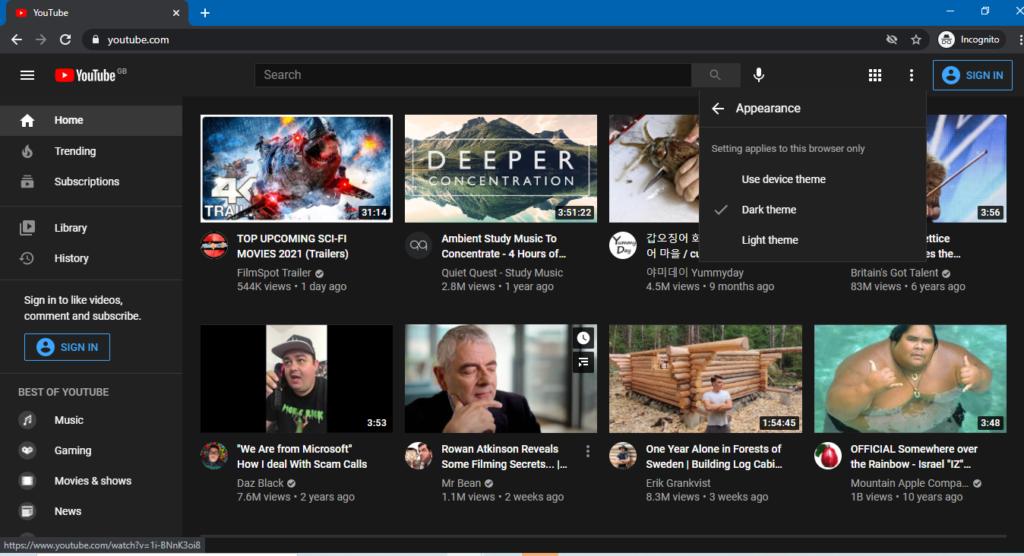 dark mode for Youtube PC