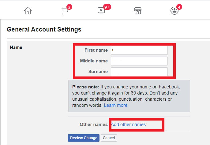 How to Change your name on Facebook with Computer